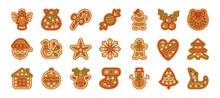 Christmas Gingerbread Xmas Cookie Flat Icon Set