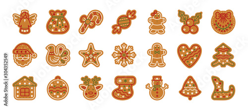 Christmas gingerbread xmas cookie flat icon set Canvas Print