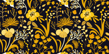 Seamless Floral Pattern With Bright Yellow Flowers And Tropic Leaves On Dark Background. Creative Template For Fashion Prints. Modern Floral Background. Trendy Original Style. Hand-drawn Illustration.