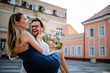 canvas print picture - Beautiful couple in love travel, smiling, dating outdoors