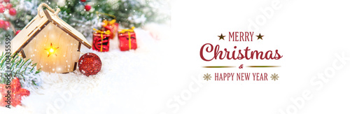 Christmas background and decor. New Year. Selective focus. - 304355595