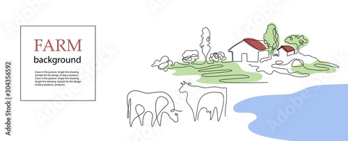 Obraz Horizontal banner. Cows and village houses. Agricultural template. - fototapety do salonu