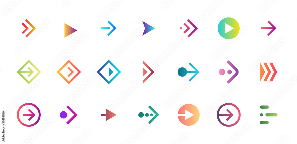 Fototapeta Swipe arrow right gradient button icon set. Application and social network scroll pictogram for web design or app. Vector flat modern next direction pointer ui interface collection illustration - obraz na płótnie