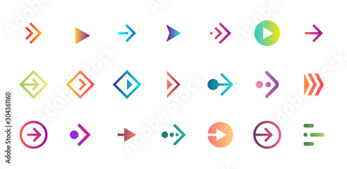 Obraz Swipe arrow right gradient button icon set. Application and social network scroll pictogram for web design or app. Vector flat modern next direction pointer ui interface collection illustration - fototapety do salonu