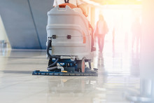 Close-up Sweeper Machine Cleaning. Concept Clean Airport From Debris