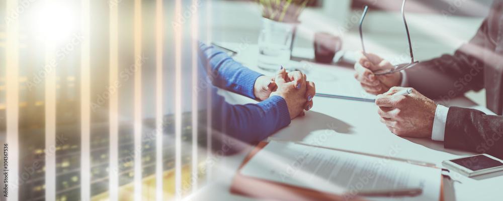 Fototapeta Business negotiation between businesswoman and businessman; multiple exposure