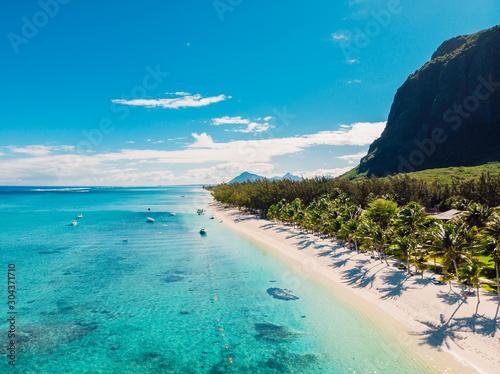 Obraz na plátně Luxury beach with mountain in Mauritius