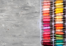 Set Of Multi-colored Cotton Threads. Colorful Threads. Top View