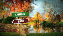 Street Sign To Camping Versus ...
