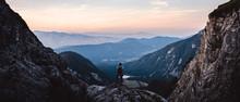 Breathtaking Views From Mangart Peak At Stunning Sunset. Peaks Above Clouds.