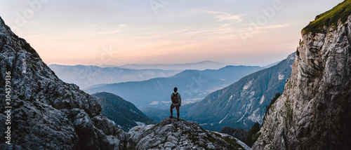 Obraz Breathtaking Views From Mangart Peak at Stunning Sunrise. Peaks Above Clouds. - fototapety do salonu