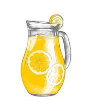 Vector Engraved Style Illustration For Posters, Menu And Logo. Hand Drawn Sketch Of Lemonade In The Pitcher Or Jug, Colorful Isolated On White Background. Detailed Vintage Woodcut Style Drawing.