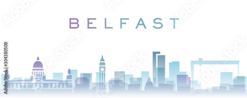 Canvas Print Belfast Transparent Layers Gradient Landmarks Skyline