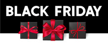 Black Friday Sale Design Template. Decorative Gift Boxes With Red Bow And Text. Vector Illustration
