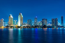 San Diego Skyline At Night , San Diego, California, USA