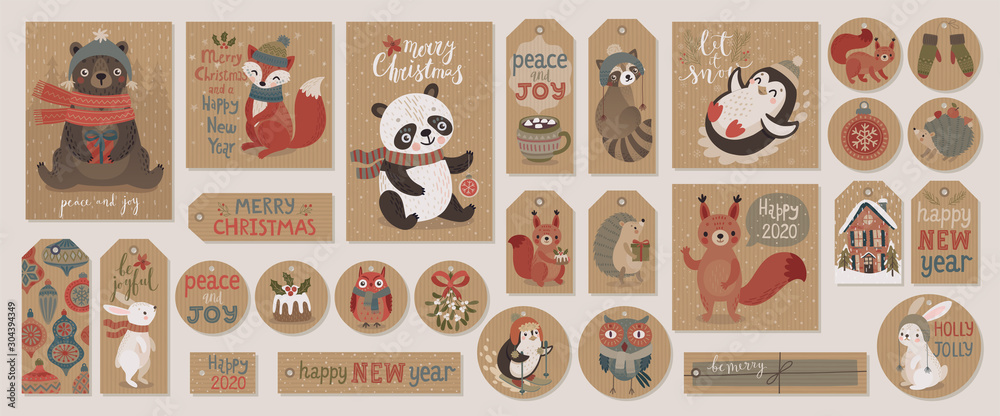 Christmas kraft paper cards and gift tags set, hand drawn style.