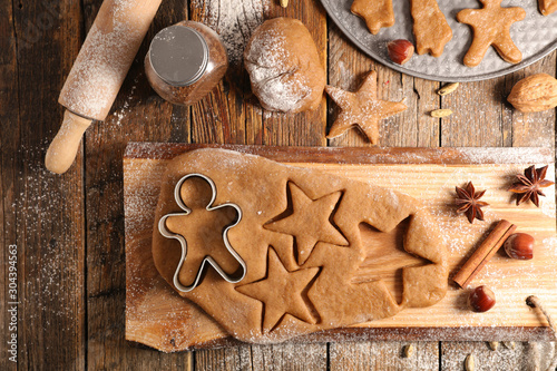 cooking christmas cookies, gingerbread biscuit Canvas Print