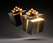 Offene leuchtende und geschlossene Geschenkbox Gold Schwarz