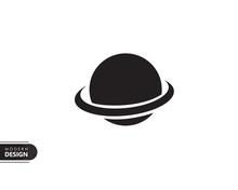 Galaxy Planet Black Solid Icon...
