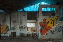 Abandoned Dirty Industry Building With Graffiti