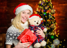 All She Wants For Christmas. Cheerful Woman. Woman Got Teddy Bear Toy Present. Santa Hat Christmas Accessory. Cute Gift. Winter Holidays Celebration. Happy New Year. Xmas Mood. Christmas Preparation