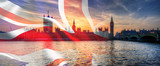 Fototapeta London - Composite image of Westminster Big Ben Union Jack Flag for Politics UK General Election 2019