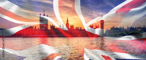 Foto  Composite image of Westminster Big Ben Union Jack Flag for Politics UK General E