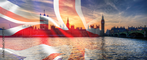 Composite image of Westminster Big Ben Union Jack Flag for Politics UK General E Fotobehang