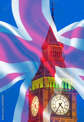 Composite image of Westminster Big Ben Union Jack Flag for Politics UK General E Fototapeta