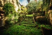 Old Stairway In A An Abandoned Village