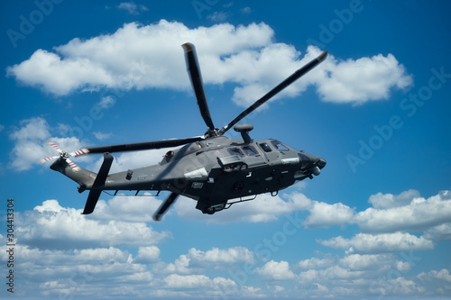 Military helicopter at low altitude Canvas Print