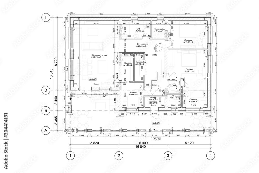 Fototapeta Detailed architectural private house floor plan, apartment layout, blueprint. Vector illustration