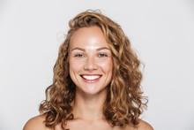 Image Of Happy Half-naked Woman Smiling And Looking At Camera