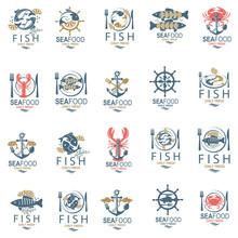 Collection Of Seafood Menu Des...