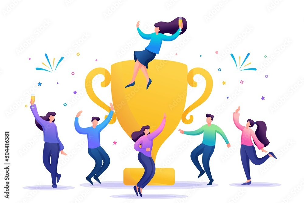 Fototapeta The business team celebrates success. People jump in and enjoy close to with a large Cup. Flat 2D character. Concept for web design