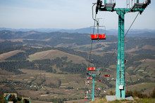 View From The Chairlift Ride To Mountains With Beautiful Nature Background. Ukrainian Carpathians