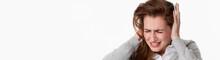 Sick Young Woman At Tinnitus O...