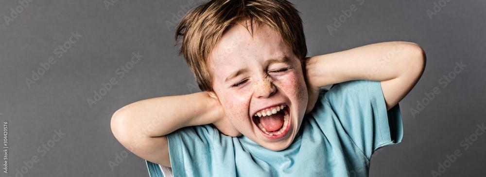 Obraz shouting child with an attitude ignoring parents scolding, panorama fototapeta, plakat