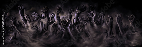Fotografia Zombie hands banner/ Illustration horror zombie hands in a mist