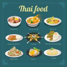 Stewed Egg,tom Yum Kung,green Curry,panang Pork With Rice,pork Satay,basil Pork With Fried Egg,papaya Salad,pad Thai,fried Rice Thai Food Menu Vector Graphic Design