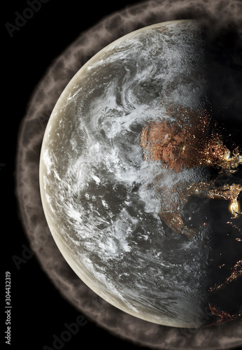 Fototapeta Polluted Earth concept with thick pollution as a haze covering the planet obraz