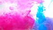 Ink shot motion. Force of nature. Magenta pink blue glitter fume flow on white background.
