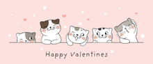 Draw Banner Cat With Little Heart For Valentine's Day.
