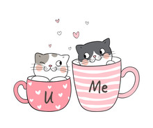 Draw Couple Love Of Cat In Cup...