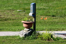 Grey Metal Mailbox Mounted On Wooden Pole Next To Large Rock With Flower Pot Filled With Sedum Plants Surrounded With Green Grass And Lily Or Lilium Orange Yellow Perennial Blooming Flower In Family H