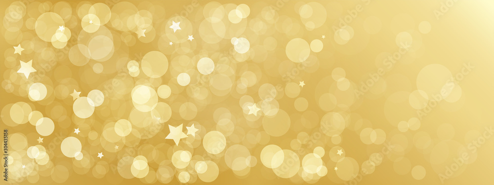 Fototapeta Wide gold bokeh light vector background