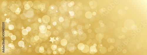 Wide gold bokeh light vector background - 304435158