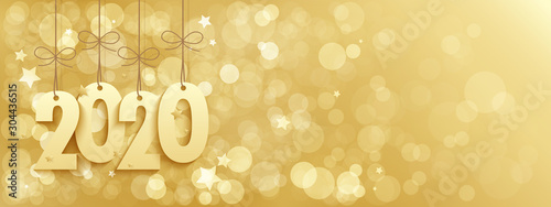 Obraz 2020 suspended on wide gold vector bokeh light background - fototapety do salonu