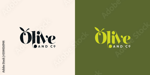 Obraz olive and co typography logo design template vector - fototapety do salonu