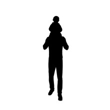 .Dad Carries A Baby On His Back, Father And Kid, Isolated Vector Silhouette